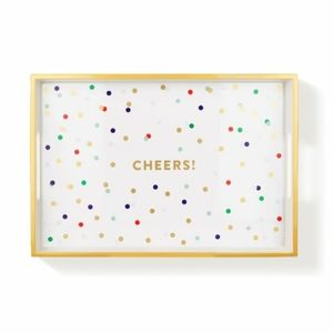"""Pastel """"Cheers"""" Lacquered Tray"""